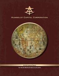 2012 Second Quarter Report - Humboldt Capital Corporation