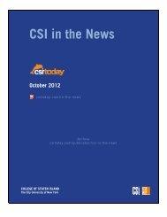 CSI in the News October 2012 - CSI Today