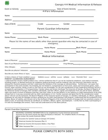 Medical Information And Release Form   Georgia 4 H
