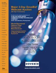 Major 3-Day DoveBid Webcast Auction