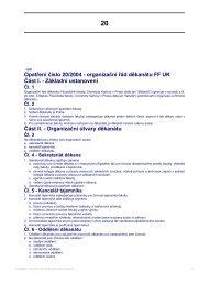 Opatření číslo 20/2004 - organizační řád děkanátu FF UK Část I ...