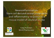 Stem-cell derived neural progenitors and inflammatory response in ...