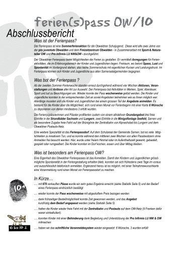 ferien(s)pass OW/10 - ferien(s)pass obwalden, willkommen ...