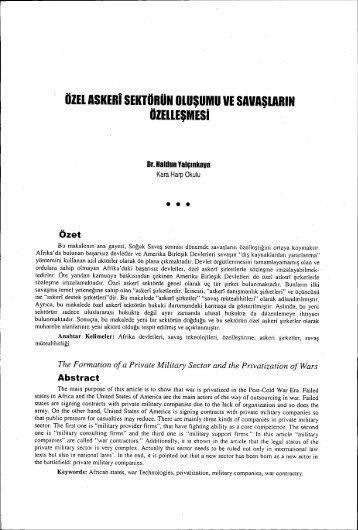 Özel Askeri Sektörün Oluşumu ve Şavaşların - Ankara Üniversitesi