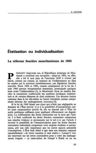 Etatisation ou individualisation : La réforme ... - Politique Africaine