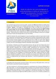 Atelier de sélection des suivis écologiques et socio-économiques à ...