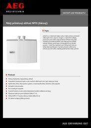 Malý průtokový ohřívač MTD (tlakový) - Aeg