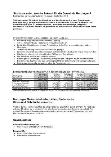 Menzinger Gewerbebetriebe, Läden, Restaurants ... - Mänziger Zytig