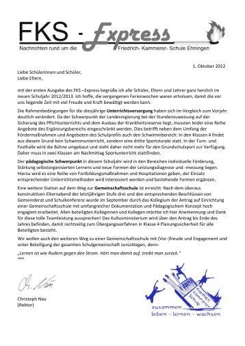 1. Oktober 2012 Liebe Schülerinnen und Schüler, Liebe Eltern, mit ...