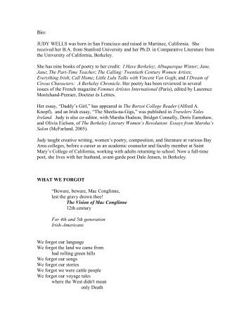Bio: JUDY WELLS was born in San Francisco and raised in Martinez ...