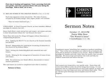 Sermon Notes - Christ Covenant Church