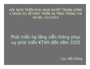 Phát triển hạ tầng viễn thông phục vụ phát triển KTXH đến năm 2020