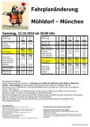 Kundeninfo Dorfen - Schwindegg 23.10.