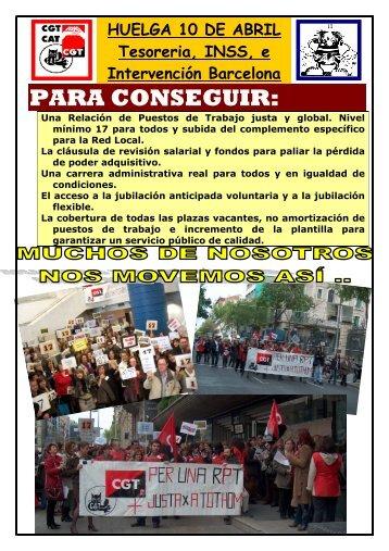COMUNICADO huelga 10 ABRIL 2008 TGSS,INSS ... - CGT Barcelona