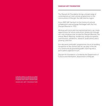 SHARJAH ART FOUNDATION The Sharjah Art Foundation brings a ...