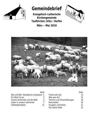 Gemeindebrief - der Evangelisch-Lutherischen Kirchengemeinde ...