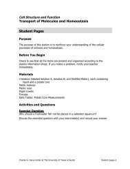 Transport of Molecules and Homeostasis Student Pages