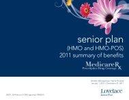 2011 Summary Of Benefits - Lovelace Health Plan