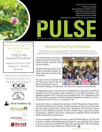 The Pulse - October 2012 - Northern Pulse Growers Association