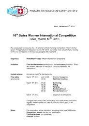 16 Swiss Women International Competition Bern, March 16 2013