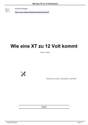 Wie eine XT zu 12 Volt kommt - Ratpak