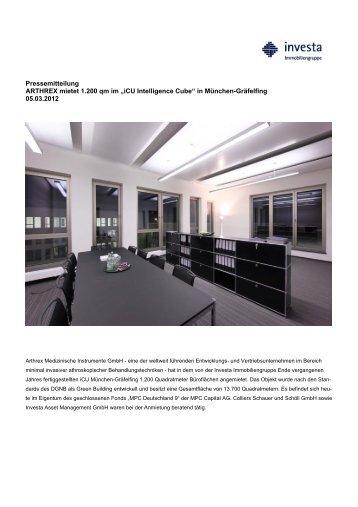 """Pressemitteilung ARTHREX mietet 1.200 qm im """"iCU ... - Investa"""