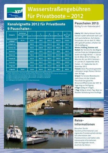 Wasserstraßengebühren für Privatboote – 2012
