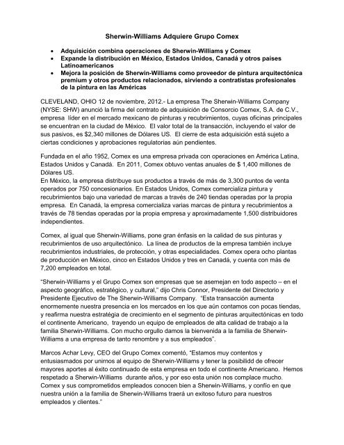 Sherwin-Williams Adquiere Grupo Comex - Investor Relations ...
