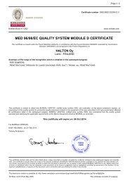 MED 96/98/EC QUALITY SYSTEM MODULE D CERTIFICATE - Halton