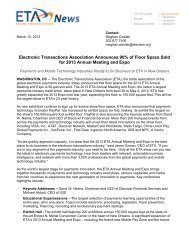 Electronic Transactions Association Announces 90% of Floor Space ...