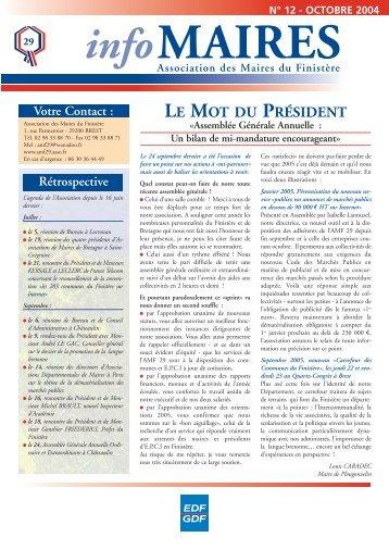 Info-Maires 12 - Association des Maires du Finistère