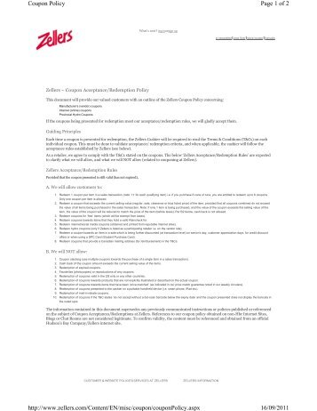 Page 1 of 2 Coupon Policy 16/09/2011 http://www.zellers.com ...