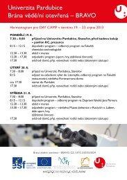 Harmonogram day camp 19. - Projekty - Univerzita Pardubice