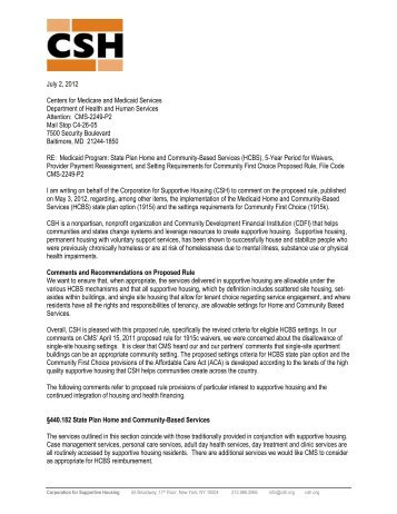 Comments - Corporation for Supportive Housing
