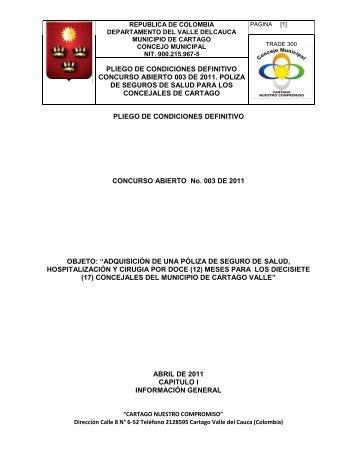 pliego de condiciones definitivo concurso abierto 003 de 2011 ...