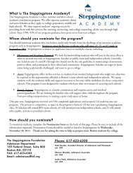Nomination Form - The Steppingstone Foundation