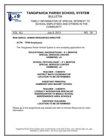 New Student Enrollment Packet - Tangipahoa Parish Schools