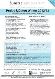 Preise & Daten Winter 2012/13  - Sunstar Hotels