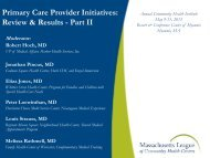 Primary Care Provider Initiatives: Review & Results - Part II