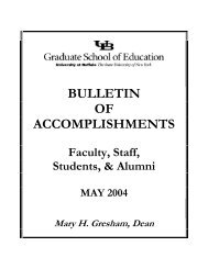 bulletin of accomplishments - UB Graduate School of Education