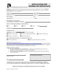 APPLICATION FOR DEGREE OR CERTIFICATE