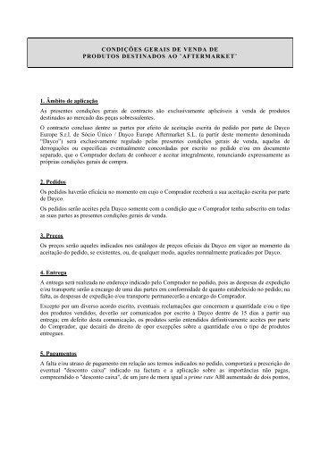 CONDIÇÕES GERAIS DE VENDA DE PRODUTOS ... - Dayco
