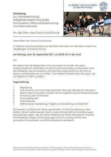 Einladung Vollversammlung 2011 - Gorch-Fock-Schule