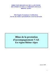 Bilan accompagnement VAE 2009 - (DRJSCS) Rhône-Alpes