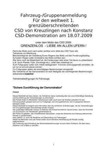 Fahrzeuganmeldung für die Demonstrationsparade ... - CSD am See