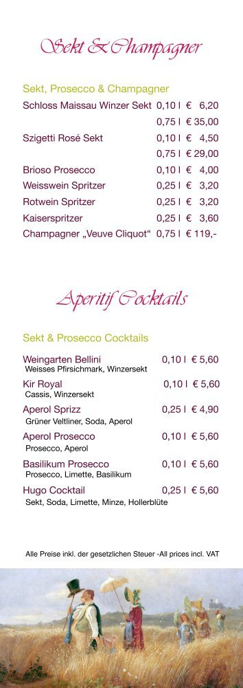 Aperitif, Sekt & Champagner, Cocktails u.v.m. Holen Sie sich hier ...