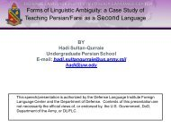 Forms of Linguistic Ambiguity: a Case Study of Teaching Persian ...