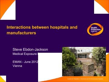 2. Interactions between hospitals and manufacturers - S. Ebdon ...