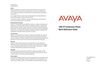 Avaya 1692 IP Conference Phone Quick Reference Guide