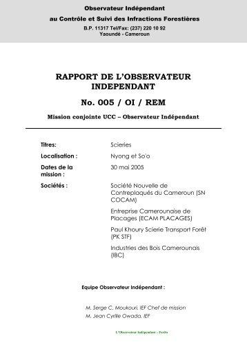 Rapport de mission REM 005 - Observateur Indépendant FLEG